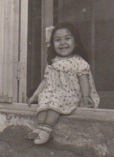 Anna, 2 years old, in Yerevan, Armenia in 1962 wearing girls dress shoes made by my Dad Lermont Moukoian